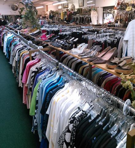 Well organized clothing sections.